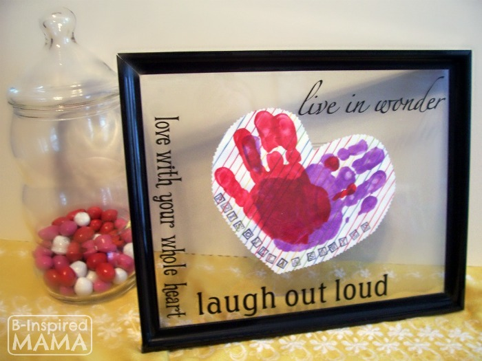 A Preschool Valentines Craft - Framed Handprint Hearts at B-Inspired Mama