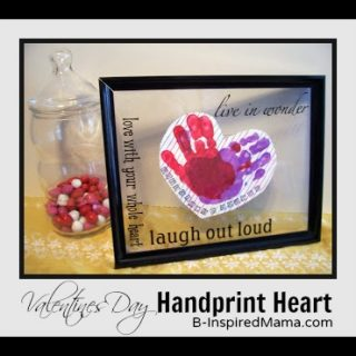 Hand Print Heart Valentine Kids Craft at B-InspiredMama.com