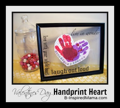 Preschool Valentines Craft Handprint Heart from B-InspiredMama.com