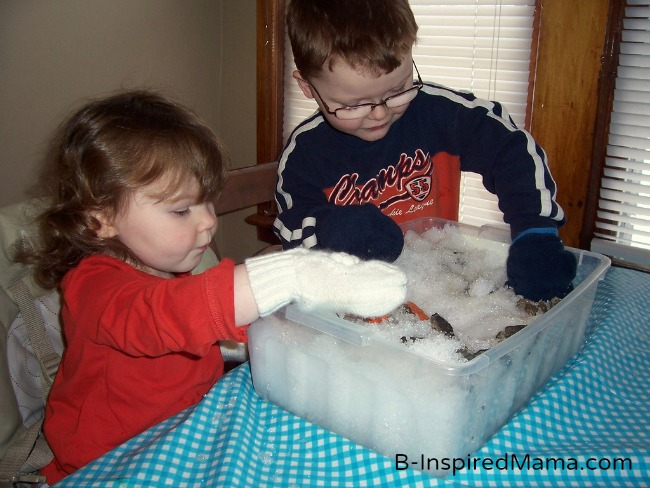 Making an Indoor Snowman with a Snow Sensory Box at B-Inspired Mama
