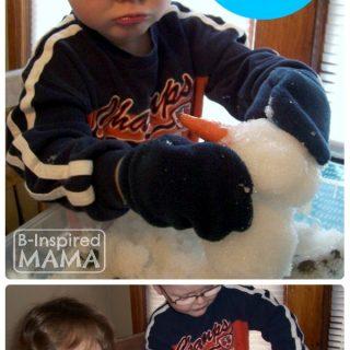 Indoor Snow Sensory Play - Building a Mini Snowman - B-Inspired Mama