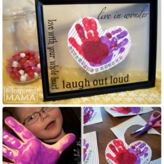 Our Preschool Valentines Craft - Making Framed Handprint Hearts at B-Inspired Mama
