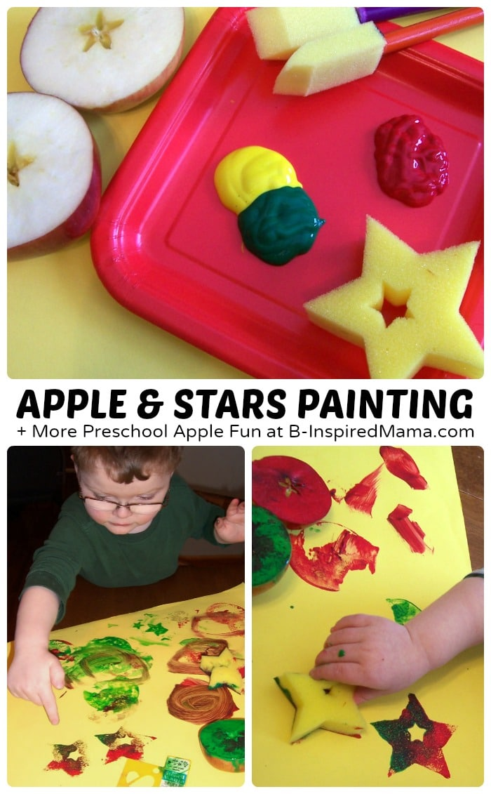 Easy Apple and Stars Painting + More Preschool Apple Fun at B-Inspired Mama