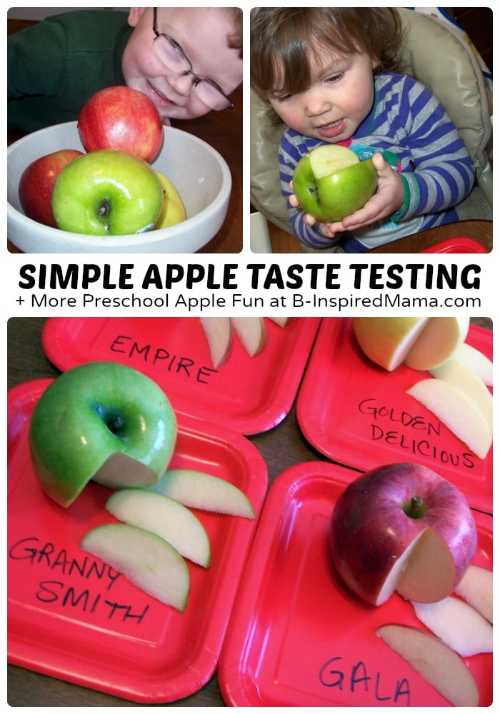 Simple Apple Taste Testing + More Easy Preschool Apple Fun at B-Inspired Mama
