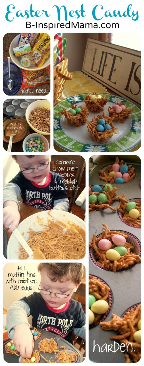 Easy and Yummy Butterscotch Nest Candy - An Easter Recipe from B-InspiredMama.com