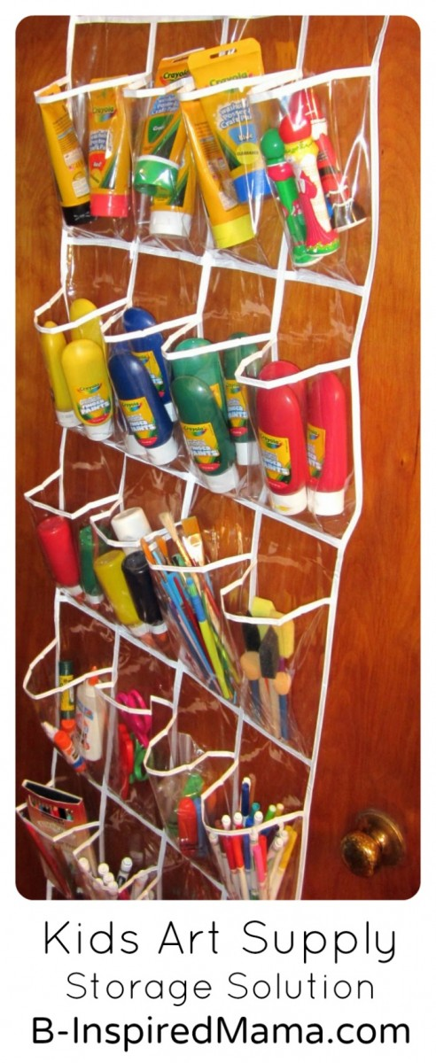 Kids Art Supply Storage Solution at B-InspiredMama.com