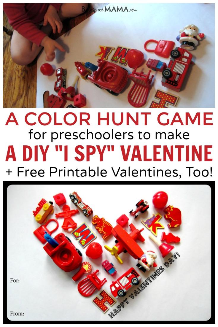A Color Hunt Game to make a DIY I Spy Valentine for Preschoolers!