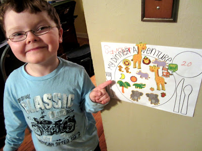 "My picky eater, Sawyer, with his ""Dinner Adventure"" Sticker Chart"