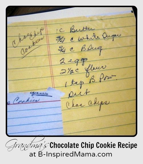 Grandma's Chocolate Chip Cookie Recipe from B-InspiredMama.com