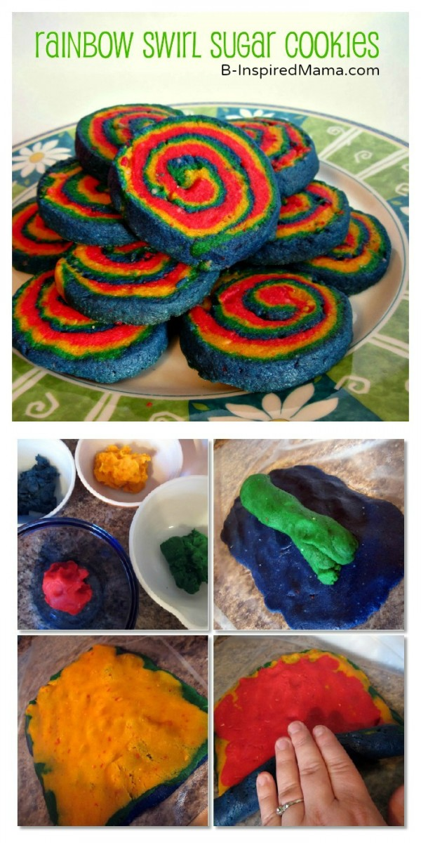 Rainbow Swirl Sugar Cookies at B-InspiredMama.com
