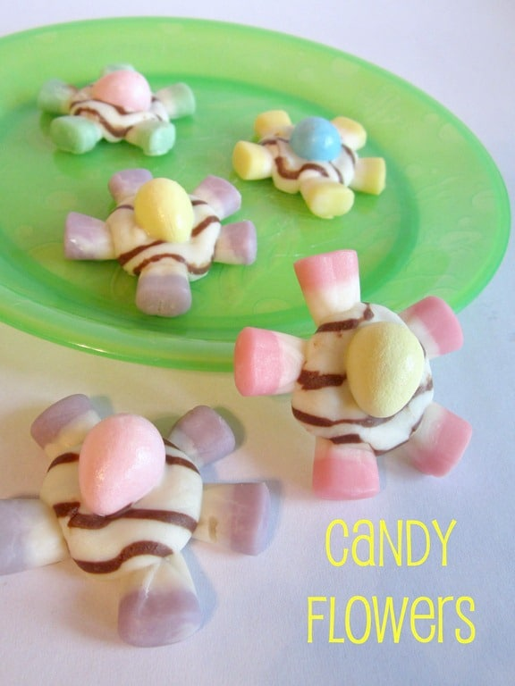 Kids in the Kitchen - Candy Flowers for Spring from B-InspiredMama.com
