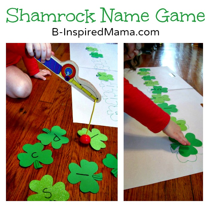 St. Patrick's Day Games For Elementary Students using shamrocks cutouts with magnets on them, a magnetic fishing pole, and spelling out words.