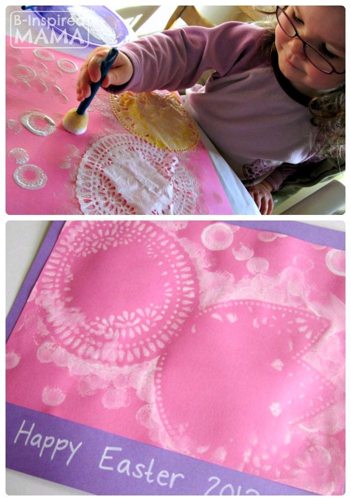 Simple Easter Doily Resist Painting at B-Inspired Mama