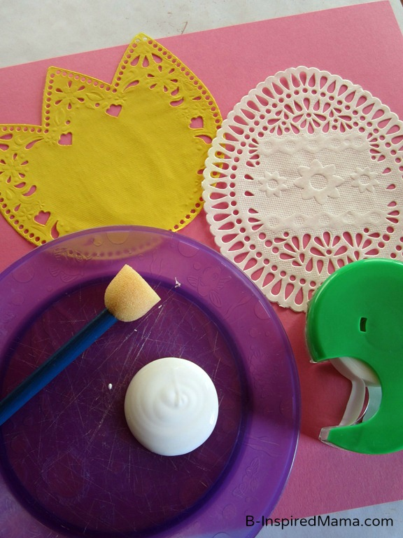 Supplies for Easter Doily Painting at B-InspiredMama.com