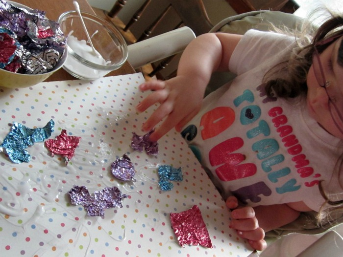 Candy Wrapper Easter Egg Collage Kids Craft at B-InspiredMama.com