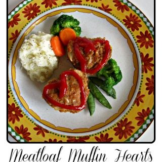 Valentines Day Recipe Heart Meatloaf Muffins from B-InspiredMama.com