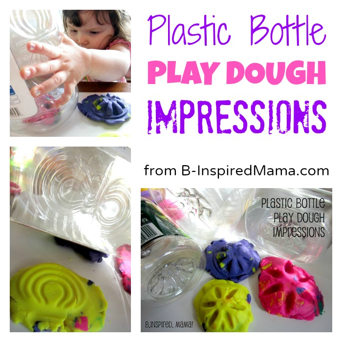 Plastic Bottle Play Dough Impressions from B-InspiredMama.com