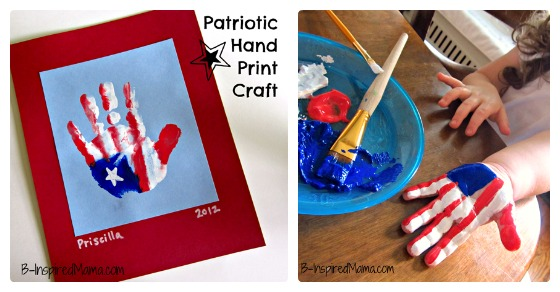Mixed Mama Paralyzed Heals Coloring Page: Patriotic Hand Print American Flag Craft