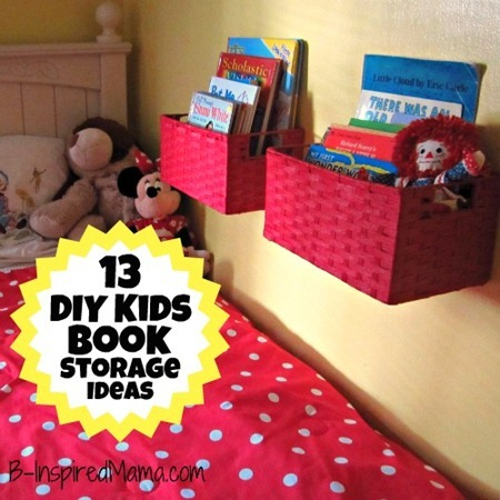 A diy wall book display with baskets 12 more kid 39 s book How to store books in a small bedroom