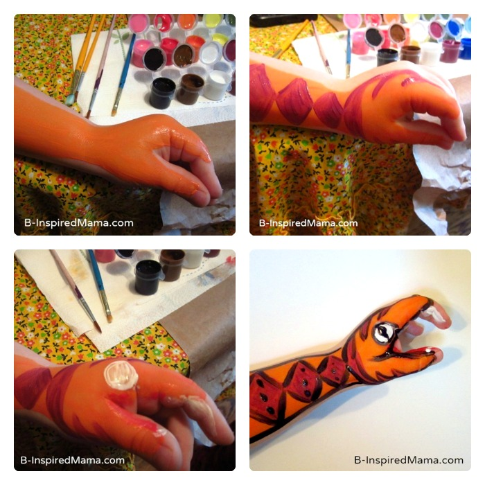 Steps for Making a Painted Hand Puppet for Kids at B-Inspired Mama