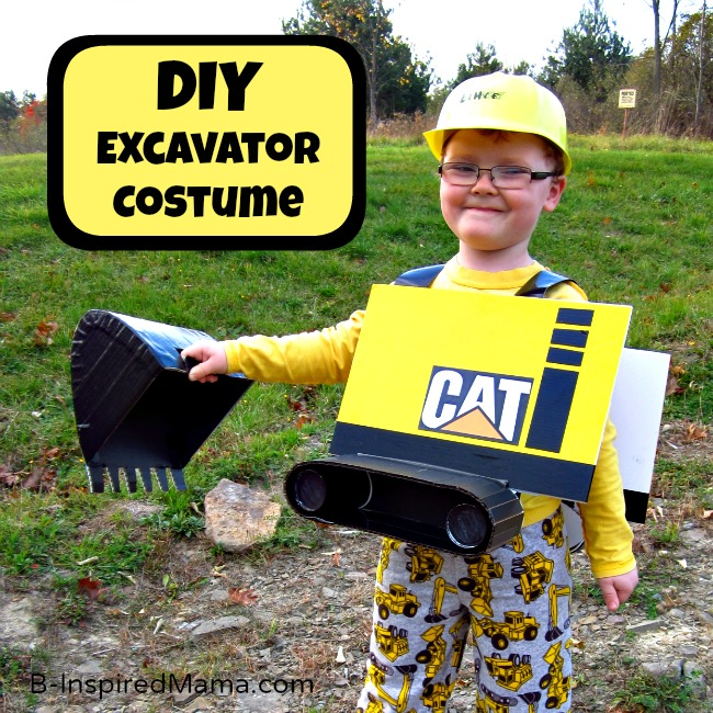 DIY Excavator Costume at B-InspiredMama.com