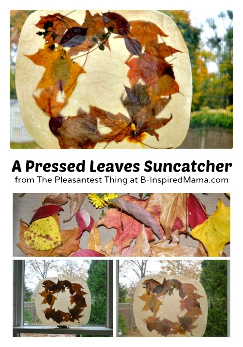 Press Leaves for a Fall Suncatcher at B-Inspired Mama