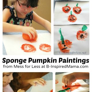 Sponge Pumpkin Painting Art for Kids from Mess for Less at B-Inspired Mama