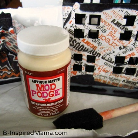 Using Mod Podge for A Mod Podge Haunted House Kids Craft for Halloween at B-Inspired Mama