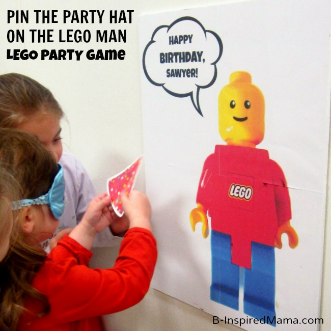 Pin the Party Hat on the LEGO Man Game at B-Inspired Mama