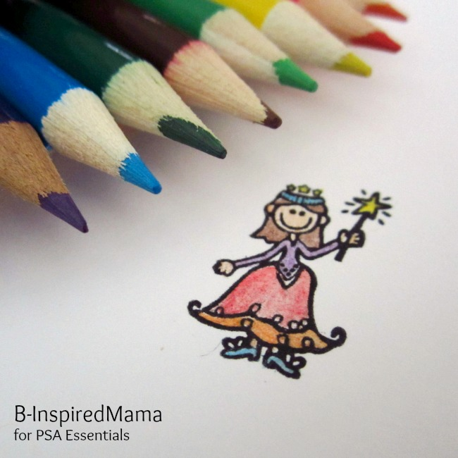 Colored Pencils and Sparkle Princess Stamp from PSA Essentials at B-InspiredMama.com