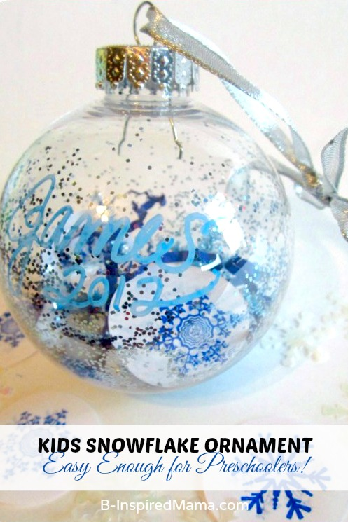 Easy Ornaments for Preschoolers - A Kids Snowflake Ornament at B-Inspired Mama
