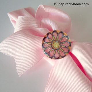 Flower Stamp Embellished Hair Bow for PSA Essentials by B-InspiredMama.com