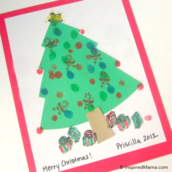 Fingerprint Tree Kids Christmas Craft at B-Inspired Mama