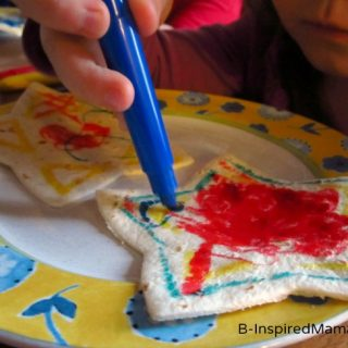 Kid Drawing on a Star Quesadilla Snack at B-InspiredMama