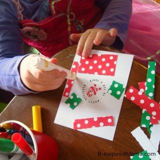 Kids Christmas Card Crafting Station at B-InspiredMama.com
