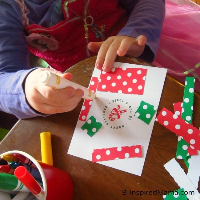 kids christmas craft  a christmas card crafting station