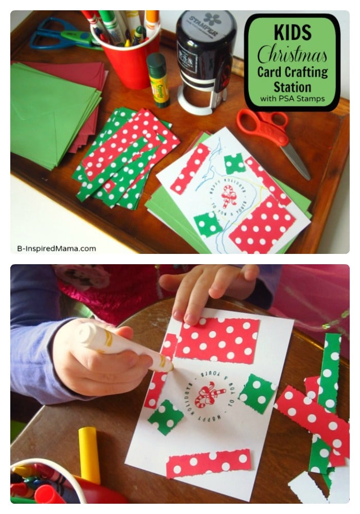 kids christmas craft a christmas card crafting station b
