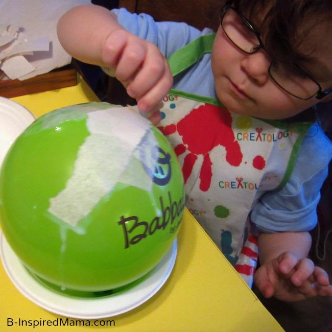 Kids Astronomy Paper Mache Night Light Craft from BabbaBox at B-Inspired Mama