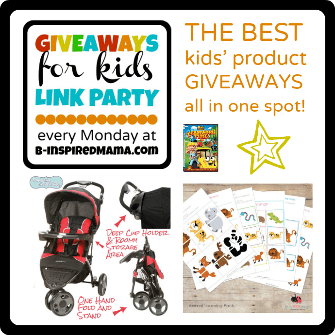 Giveaways for Kids Monday Link Party with a Learning Pack Giveaway at B-InspiredMama.com