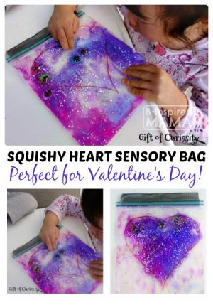 A Squishy Heart Sensory Bag Valentine Activity at B-Inspired Mama