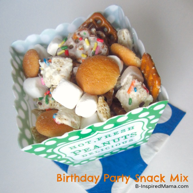 Kids Birthday Chex Mix Recipe at B-InspiredMama.com