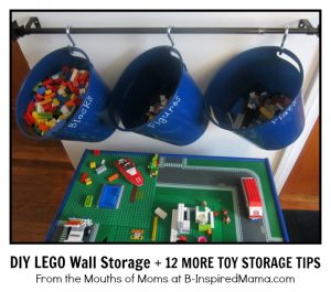 DIY LEGO Wall Storage + 12 MORE Toy Storage Ideas at B-InspiredMama.com