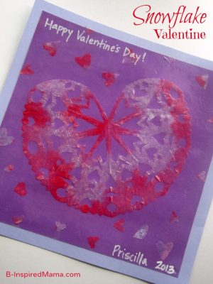 Snowflake Valentine Craft for Kids at B-InspiredMama.com
