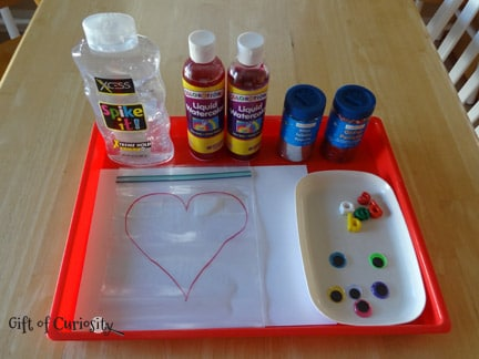 Squishy Heart Valentine Activity Supplies from Gift of Curiosity at B-InspiredMama.com