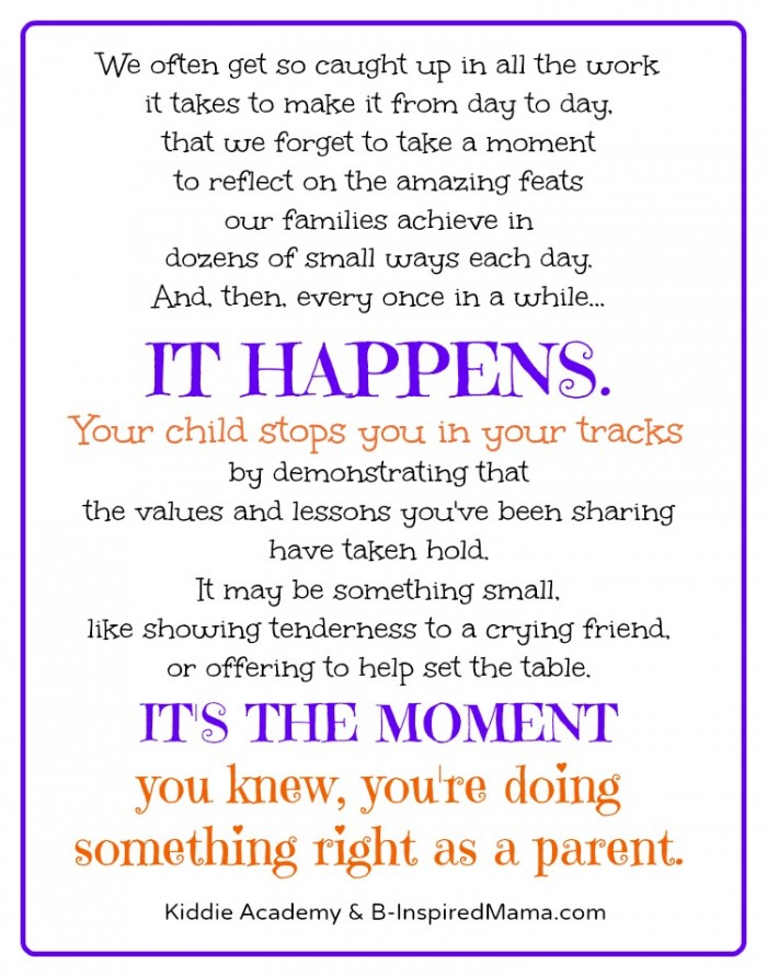 The Moment You Knew from Kiddie Academy and B-InspiredMama.com