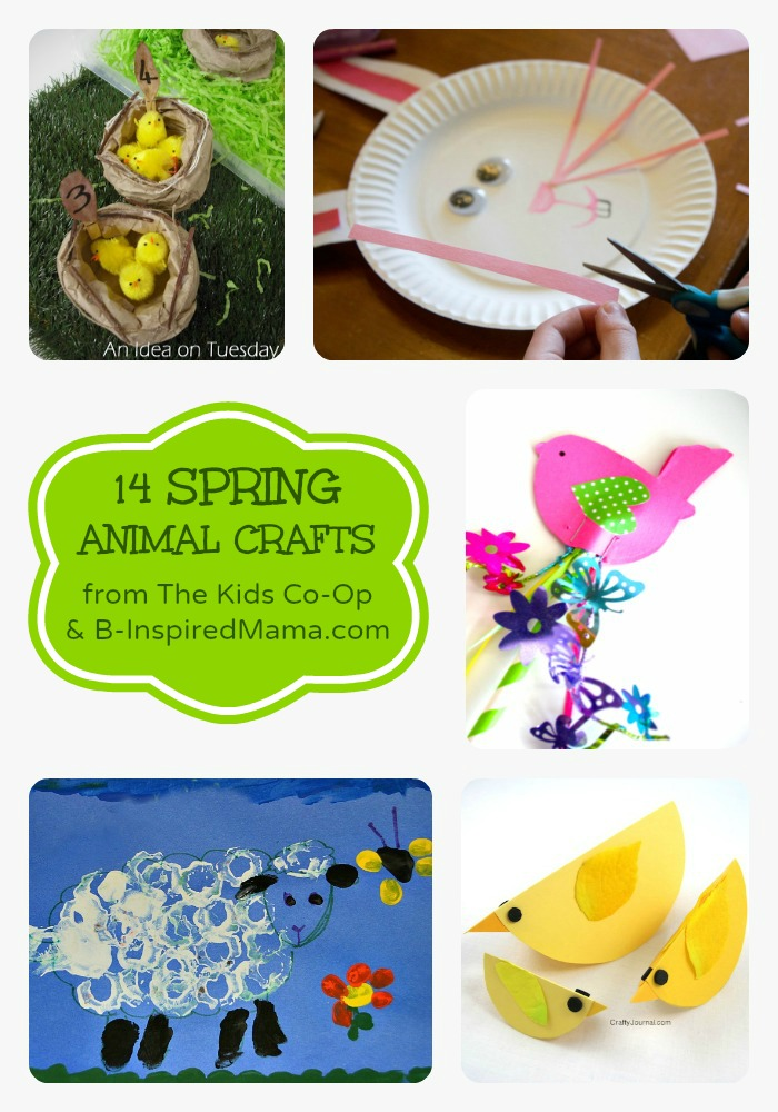 14 Spring Animal Crafts from The Kids Co-Op at B-InspiredMama.com