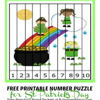 A Cute Kids Printable Number Puzzle for St. Patrick's Day