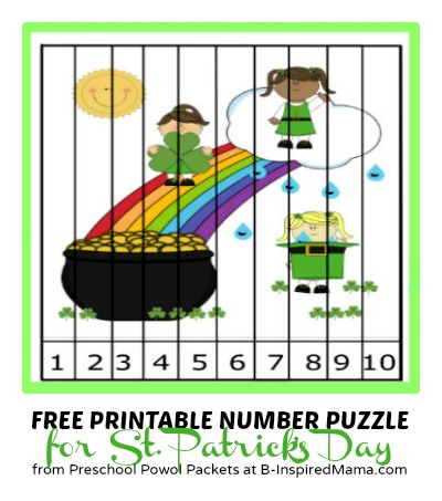 A Free Kids Printable Number Puzzle - Perfect for St Patrick's Day - B-Inspired Mama