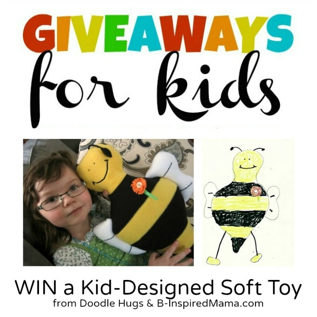 Doodle Hugs Kid Designed Soft Toy Giveaway at B-InspiredMama.com
