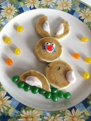 Easter Bunny Pancakes with Aunt Jemima Lil' Griddles from B-InspiredMama.com